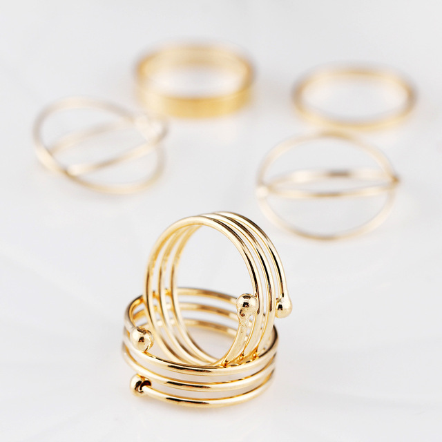 Composite 6 Pcs/Set Hot Korea Personality Retro Alloy Toe Ring Gold Color Joint Ring Foot Ornaments Bijoux Bagues Femme Anillo