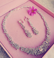 Bridal jewelry set crystal jewelry women rhinestones necklace jewelry sets necklace earrings set
