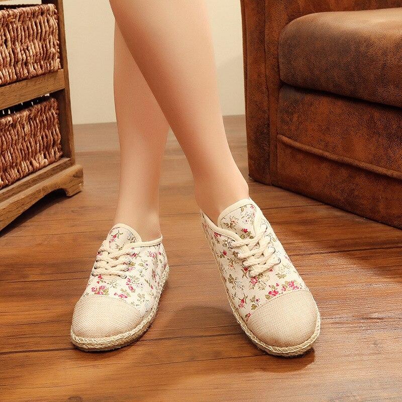 Chaussures Paille De Nouvelle Casual Femmes Plat Floral Printemps Sauvage Respirant 5p4wzff