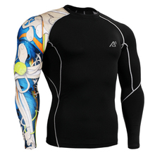 Mens Skin Tight Shirts Compression Crossfit MMA T Shirts Bodybuilding Long Sleeves Tops