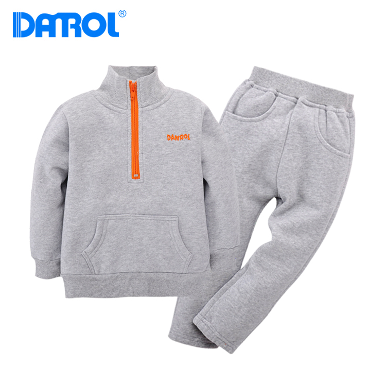 DANROL 2Pcs 12M-4T Baby Boy Clothes Keep Warm Long Sleeve Coat+Pants Grey Green Kids Clothes Solid Fleece Baby Girl Clothes V20 прогулочная коляска cool baby kdd 6699gb t fuchsia light grey