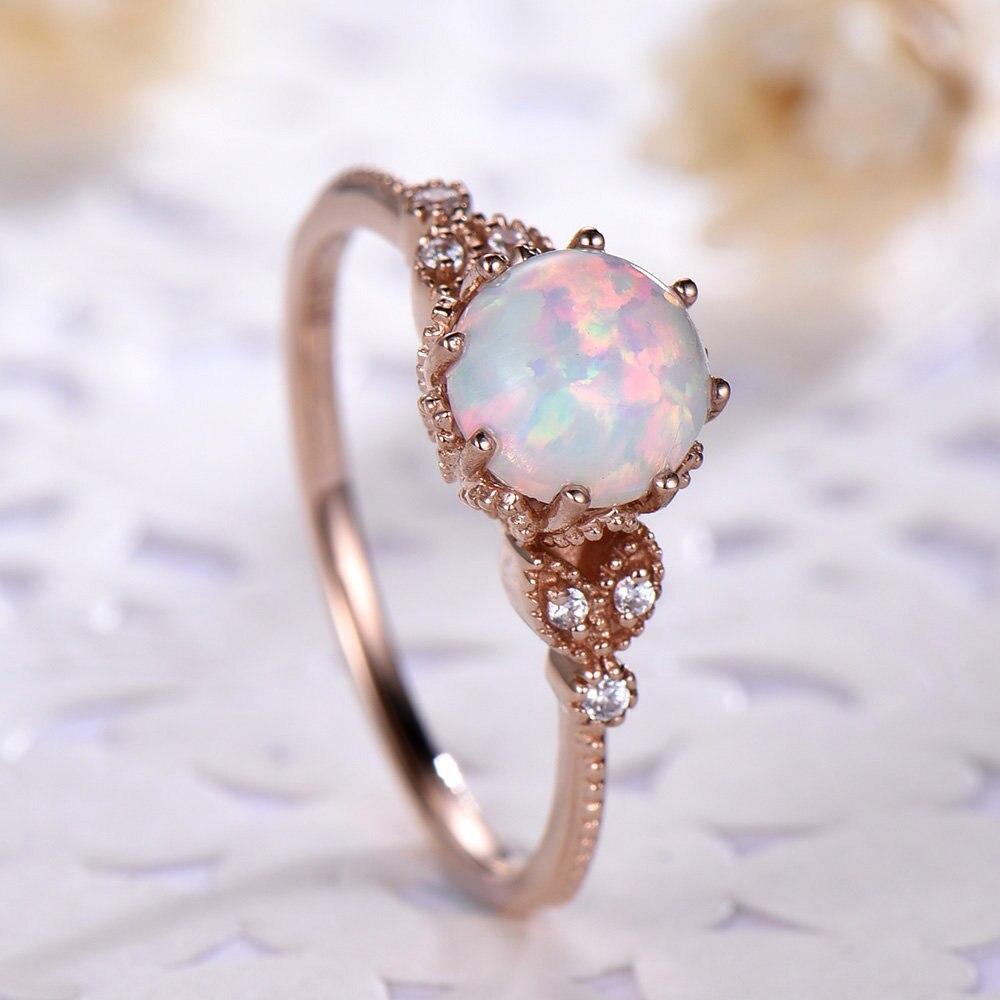 White Opal Enement Rings | Hot Sale Moonstone Wedding Rings For Women White Opal Engagement