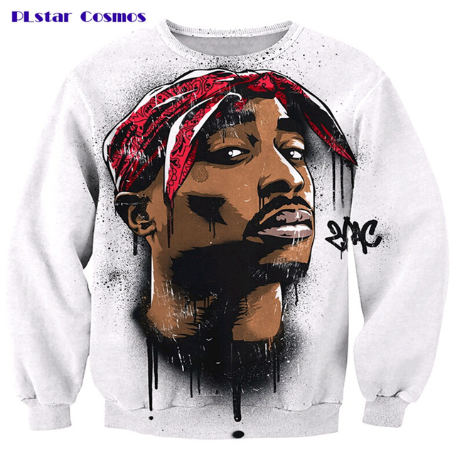 PLstar Cosmos 2017 new autumn harajuku 2pac tupac sweatshirt 3D long sleeve 0-Neck pullover 2pac tupac print sweatshirts