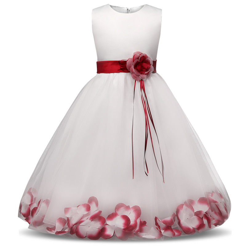 fa22232fd Flower Girl Dress with Flowers/Ribbons for Girls Tulle Dresses Birthday  Party Wedding Ceremonious Kid Girl Clothes Gown for Kids-in Dresses from  Mother ...