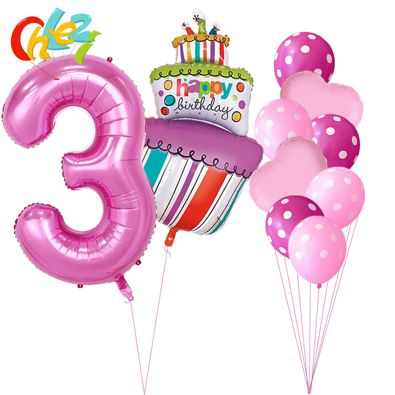 40 Inch Pink Blue Number 1 2 3 4 5 Year Birthday Cake Balloons Baby Boy Girl 1st Party Decor Supplies Dot Latex Helium Globos In Ballons Accessories From
