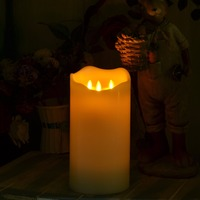 3 Moving Wicks Flickering 9 Inch LED Candle Flameless Pillar Candles Lamp Ivory Candle Light With Timer For Wedding Decoration