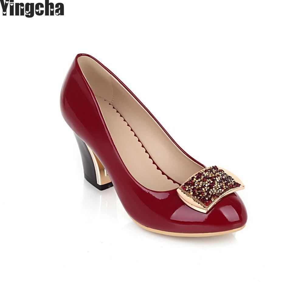 Плюс Размеры 34–43 Горячая 2018 Женские туфли лодочки ярких цветов мелкой Цвет блок обувь на толстом высоком каблуке Bling Красный Рабочая обувь