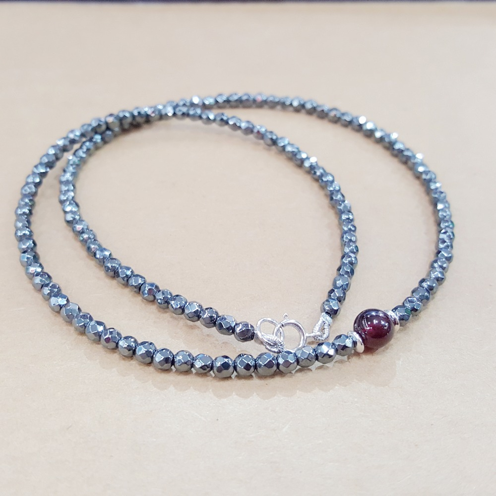 LiiJi Unique Natural Stone Hematite 3mm Faceted&Garnet 5-6mm Round Beads 925Sterling silver Clasp Choker Necklace