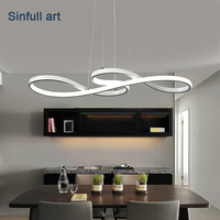 Modern Led Pendant Lights Dining Room Minimalism DIY Hanging Lamp Bar Suspension Luminaire Ceiling Aluminium Lighting