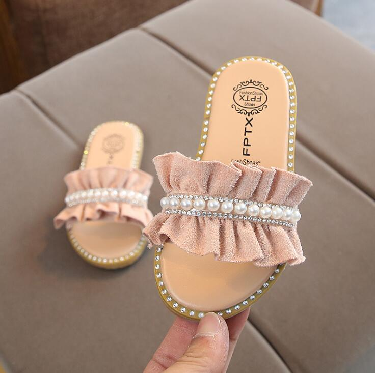 Kids Slippers for Girls Pearl Sandals Summer Baby Slippers Flat Princess House Flip Flop Children Non-slip Korea Casual Shoes