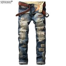 Newsosoo Марка High street хлопок мужские джинсы Мода Прямо отверстия патч джинсы мужчин Высокого качества страх божий джинсы homme MJ24