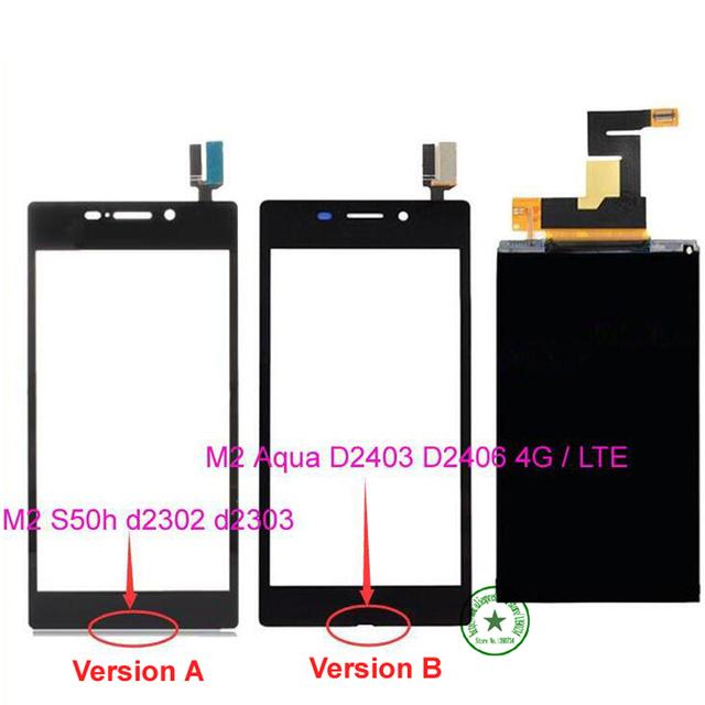 De calidad superior del lcd display + digitalizador de pantalla táctil para sony xperia m2 S50h d2303 d2302/M2 Aguamarina D2403 D2406 4G/LTE Reemplazo