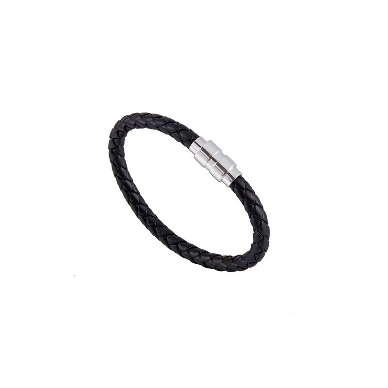 K H S P Brand Leather Bracelet for lovers Bangle Magnetic 14Color Stainless Steel Jewelry