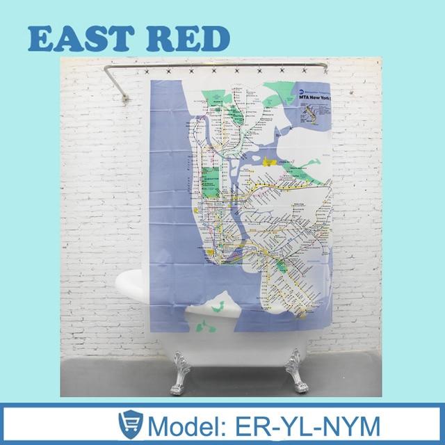 Custom New York City Underground Tube Subway Map Shower Curtain 180180CM Bathroom Decor