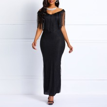 Clocolor Sequins Dress Women Off Shoulder Tassel Elegant Bodycon Sexy Ladies Boadycon Prom Evening Black Maxi Party Long Dress