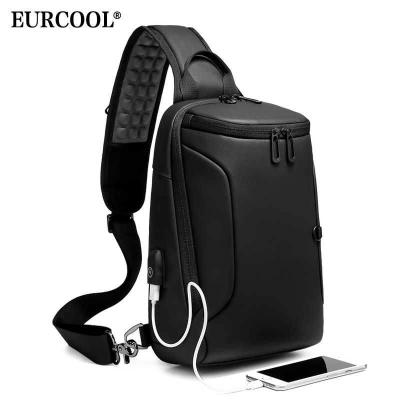 "EURCOOL 2019 NEW Crossbody Bag for 9.7"" iPad Short Trip Chest Bag USB Charging Water Repellent Shoulder Messenger Bag Male n1911"