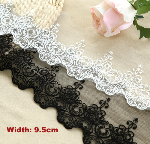 1 Yard / lot Lebar: 9.5 cm 2 Warna Bergaya cotton bordir mesh lace Garment lace trims DIY Jahit aksesoris (ss-2989)