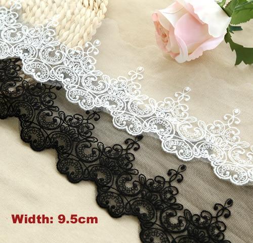 1 Yard / lot Breedte: 9.5 cm 2 Kleuren Stijlvolle katoen geborduurde mesh kant Garment lace trims garnituren DIY naaien accessoires (ss-2989)