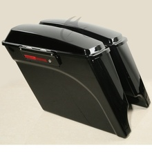 Vivid Black Extended Saddlebags Trunk For 93-13 Harley Touring Electra Glide FLT