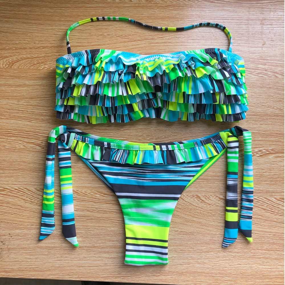 Купальник AUYLVY Biquini, женский купальник с оборками, Раздельный купальник с лямкой на шее, пляжный купальник с оборками и пуш-апом