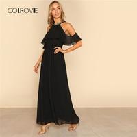 COLROVIE Beading Halter Neck Flounce Cold Shoulder Maxi Dress 2018 New Sequin Neck Women Dress Black