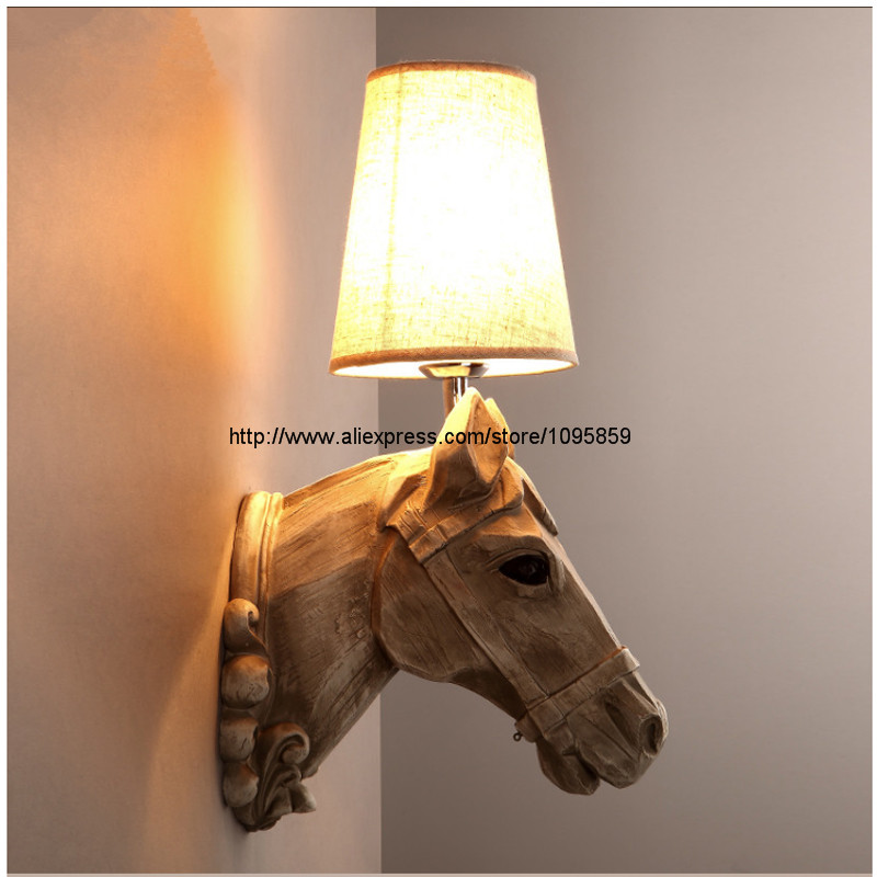 SETTEMBRE White Horse Wall Lamp Vintage Industrial Retro Light Resin Body Fabric Shade Bedside Sconces Lighting Free Bulb