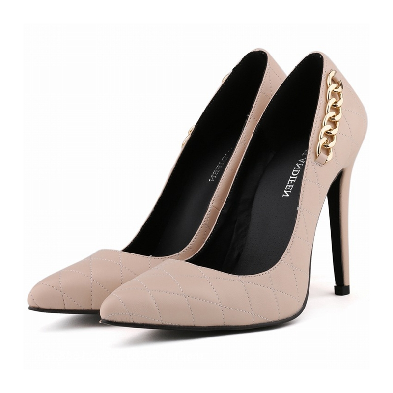 New Fashion Bridal Shoes Women High Heels Shoes European Style Pointed Toe Sexy Pumps Decorative Metal Chain Shoes NLK C0173 in Women 39 s Pumps from Shoes