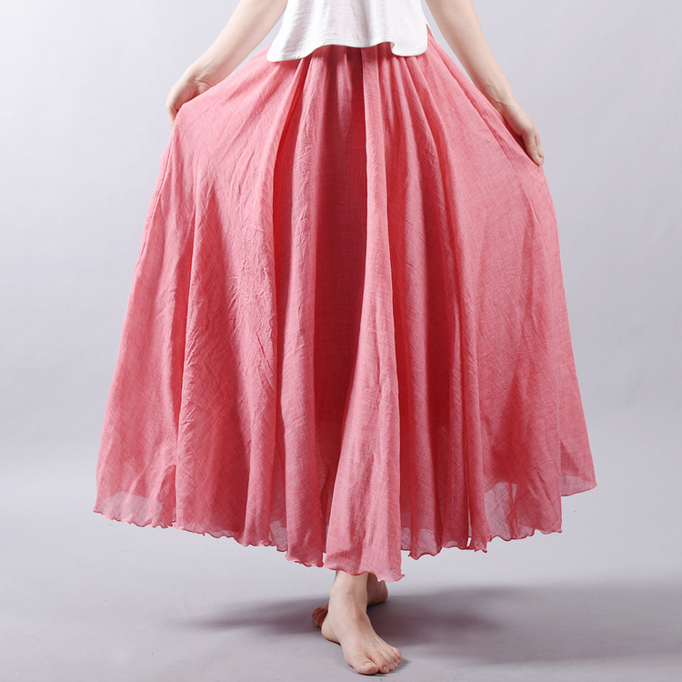 Sherhure 19 Women Linen Cotton Long Skirts Elastic Waist Pleated Maxi Skirts Beach Boho Vintage Summer Skirts Faldas Saia 10