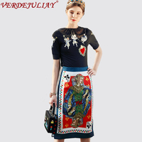 Ladies High Street Twinsets 2018 Spring Fashion Heart Shaped Embroidery Black Top Playing Card Jacquard Split