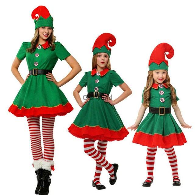 ea97d8a77530f Femmes fille enfants enfants Costumes de noël costume de noël cadeau elfe  fantaisie robe uniforme Parent