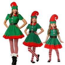 Mulheres Menina Dos Miúdos Das Crianças Trajes Do Natal Terno Roupa Pai-Filho de Presente de Natal Elf Fancy Dress Uniform Cosplay Trajes