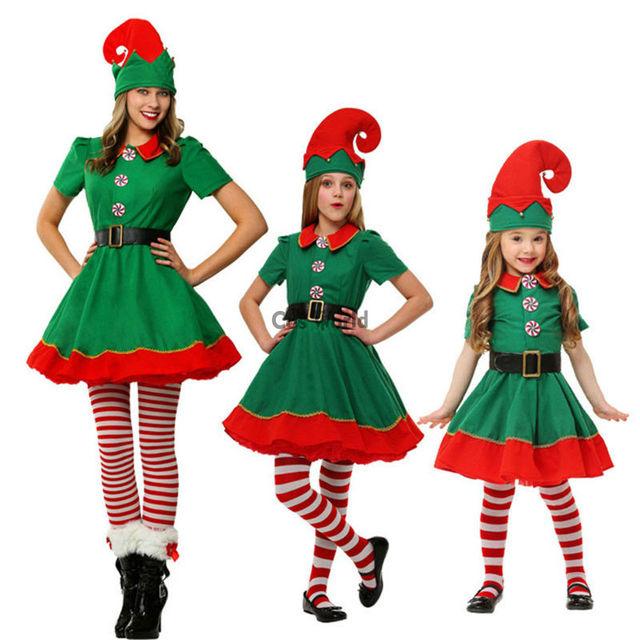 c7d68cae0ba Women Girl Children Kids Christmas Costumes Suit Xmas Gift Elf Fancy Dress  Uniform Parent-child Outfit Cosplay Costumes