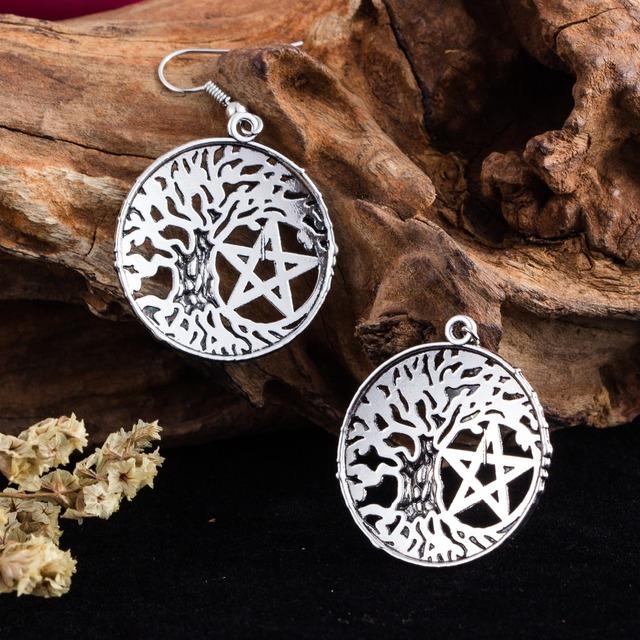 Tree of Life Pentagram Drop Earrings