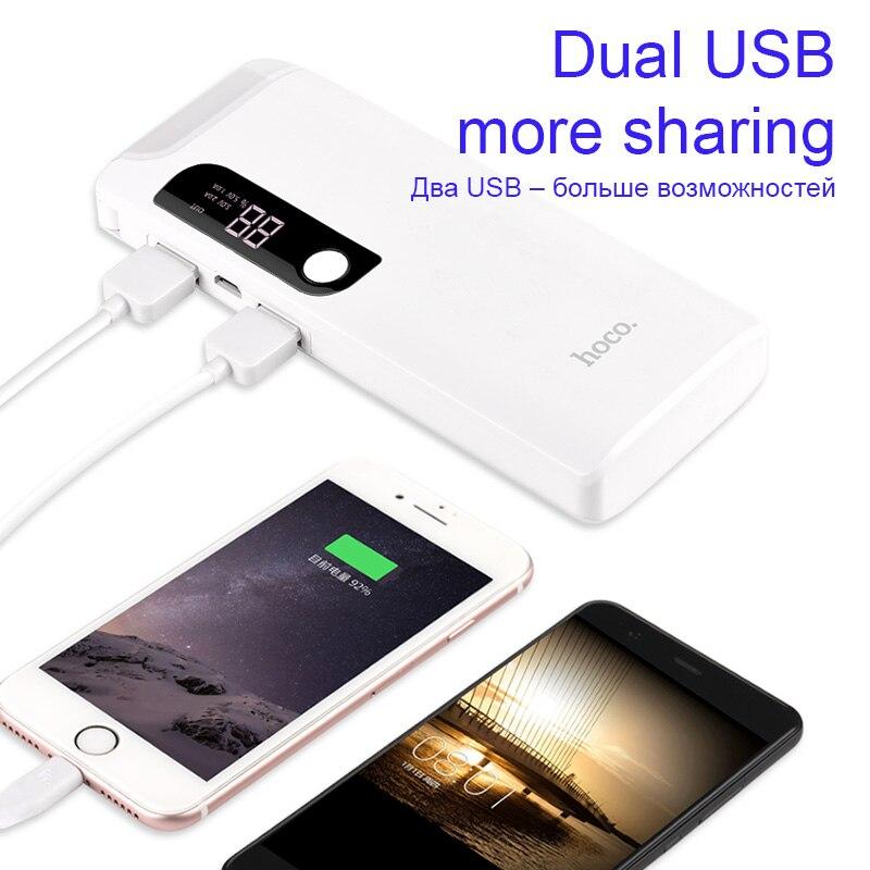 HOCO 15000 mAh 18650 banco de energía USB con lámpara de mesa LED y fuente de alimentación batería externa portátil teléfono móvil Universal cargador
