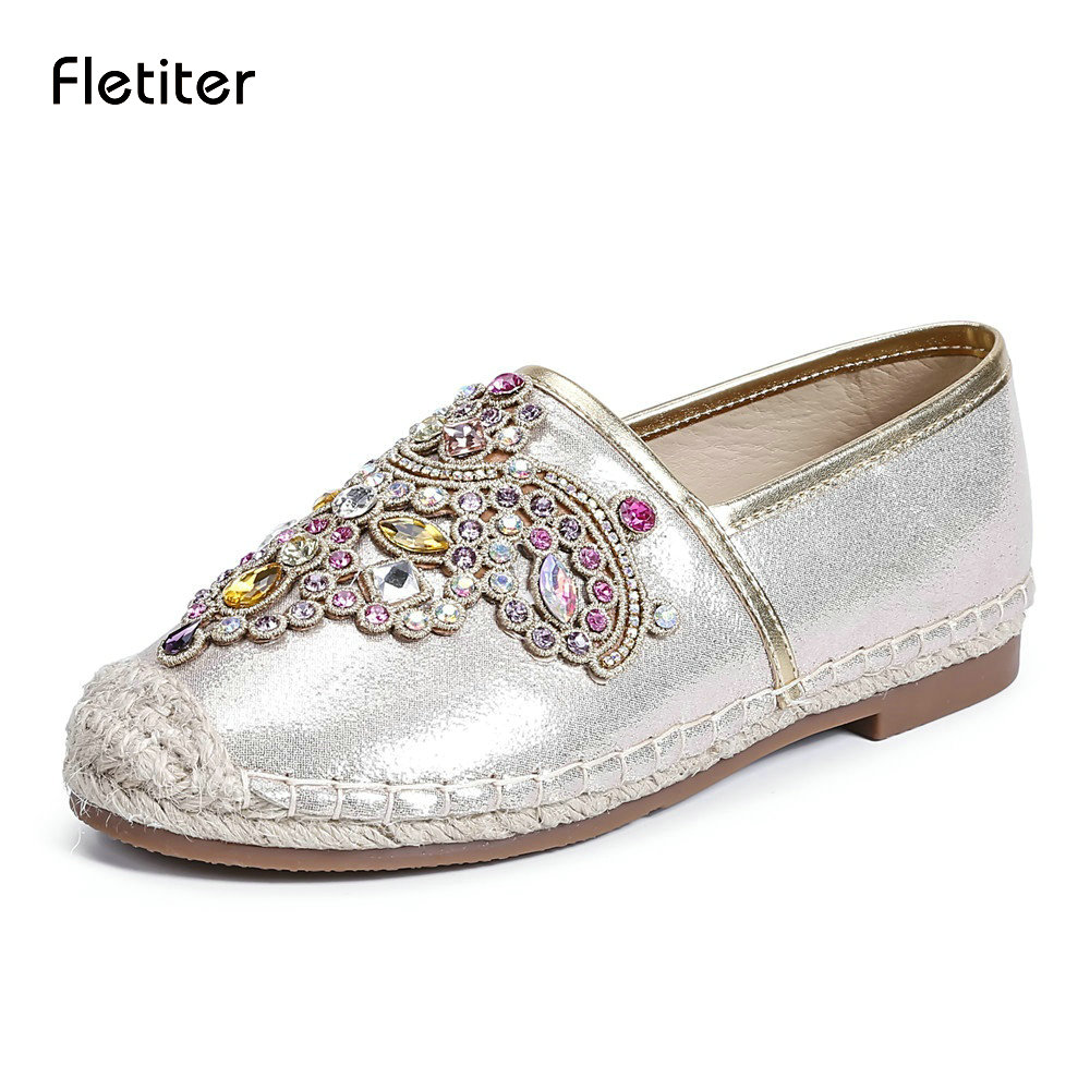 Fletiter 2018 Spring Women Loafers Round Toe Espadrilles ...