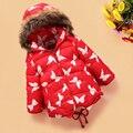 2016 nuevos niños de invierno chaqueta de down con capucha cuello de piel girls largo outwear niños ropa
