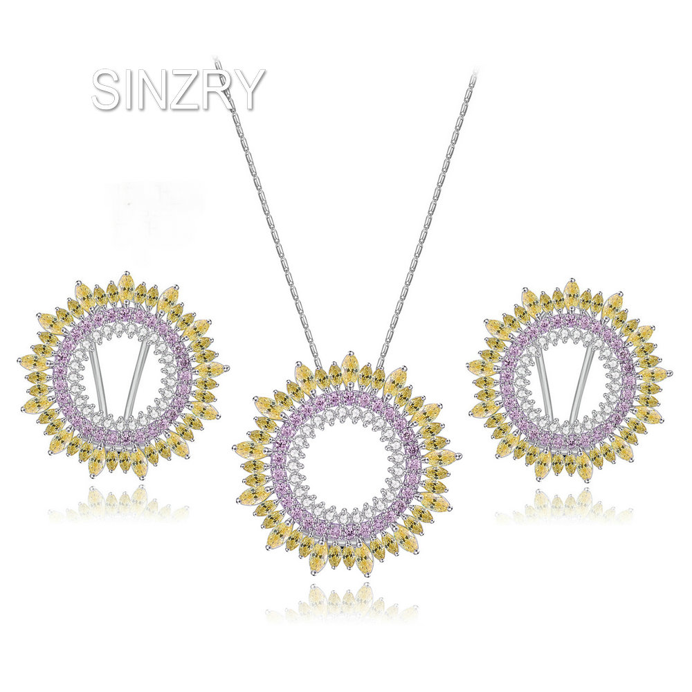 SINZRY Sweety jewelry AAA Cubic Zirconia trendy Jewelry Sets elegant colorful circle pendant necklaes earring sets for brides colorful cubic zirconia hoop earring fashion jewelry for women multi color stone aaa cz circle hoop earrings for party jewelry