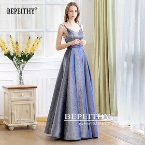 Image 3 - גלימת דה Soiree רעיוני שמלת V צוואר ארוך שמלת ערב המפלגה אלגנטי 2020 קו Shinny שמלות נשף עם חגורה