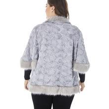Women's Plus Size Faux Fur Half Sleeved Jacket