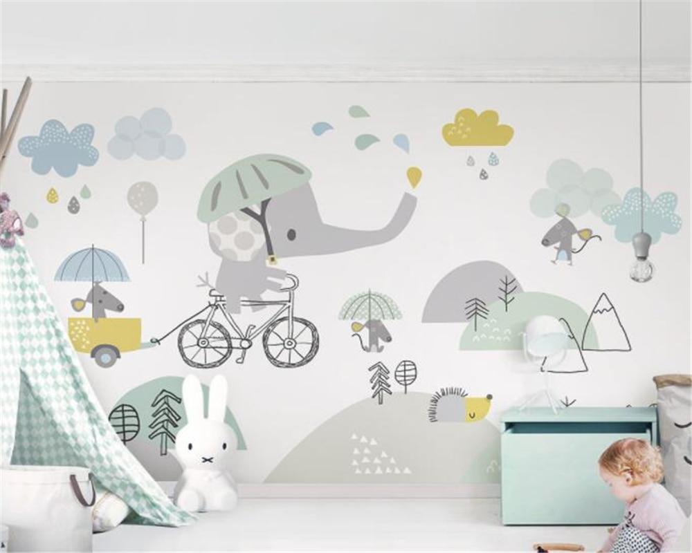 beibehang Custom personalized cute bicycle elephant hamster cloud children background wall paper papel de parede papier peint
