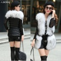 Elegant Winter Autumn Women Faux Fur Vest Jackets Sleeveless 2016 Fashion Fur Patchwork Femme Ladies Fur Black Vest Coats V16-4