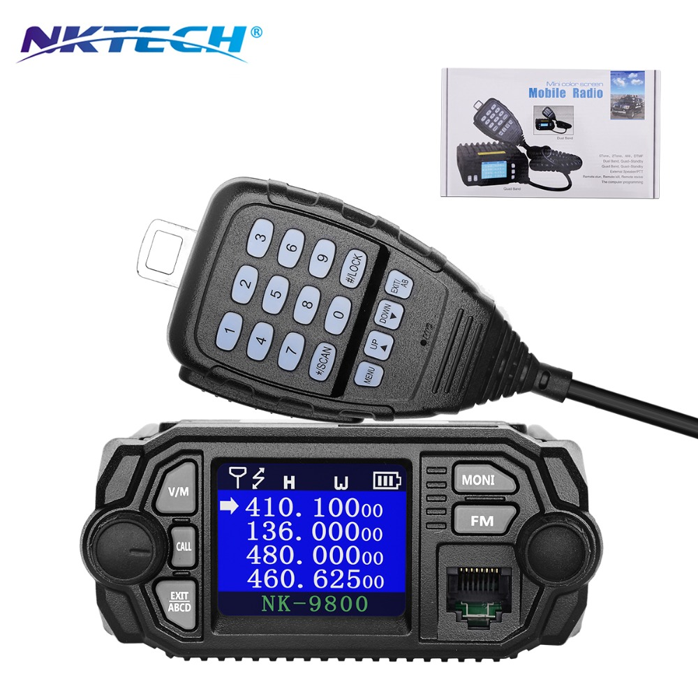 Nktech nk-9800 Pantalla de doble banda cuádruple en espera 5 tono 2 tono Ani DTMF 25 W VHF 20 W UHF Coche /tronco móvil transceptor de dos vías Radios
