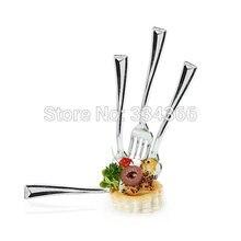100 шт/лот 10 см Пластиковый десерт Серебряная вилка одноразовые