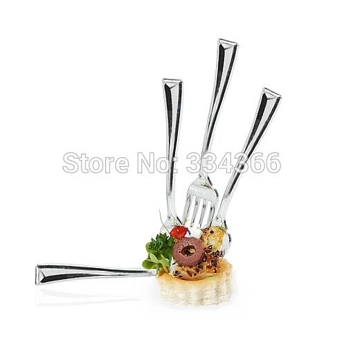 100 pcs/Lot 10 cm En Plastique Dessert Argent Fourchette Jetable Brillant Fourche 3.9 Mini Partyware Pour Le Festival De Noce