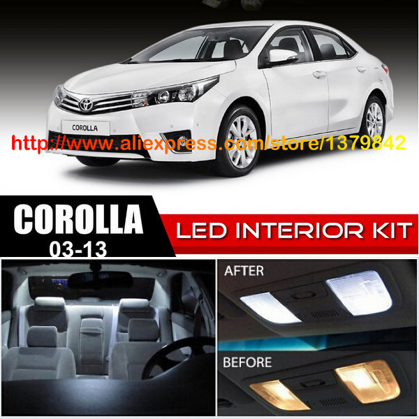 Frete Grátis 10 pçs/lote 12 v-car styling Xenon Branco/Azul Kit Luzes LED Interior de Pacote Para 03 -13 Toyota Corolla