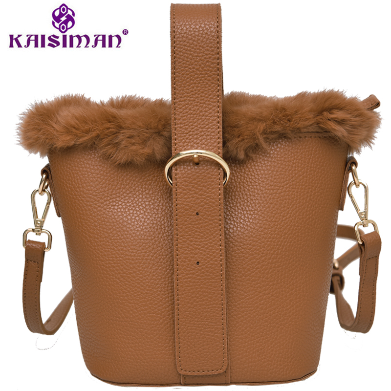 Newest Bucket Bags Real Fur Bag Classic Charm Women Top-handle Bags Luxury Rabbit Fur+Split Leather Female Fashion Shoulder Bags