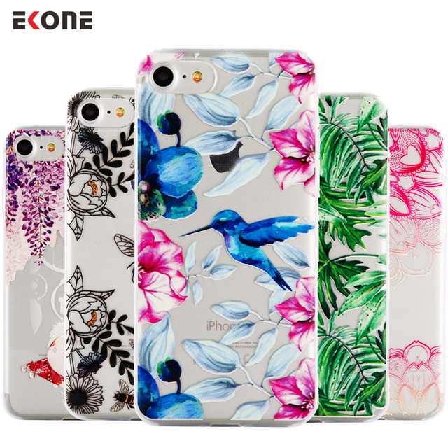 EKONE Relief Silicone Case For iPhone 7 7Plus 6 6S 6Plus 5 5S SE Case Soft TPU Cover Flower Leaves Bird For iPhone 6S 8Plus