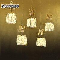 5 Heads Modern Crystal Pendant Lights Fixtures K9 Crystal Dining Room Hanging Lamp Bar Counter Lamp