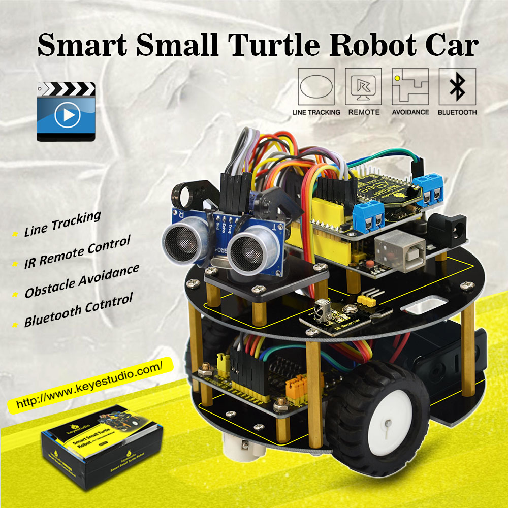 New Year present! Keyestudio DIY Smart car learning kit intelligent turtle robot for Aduino Robot starter