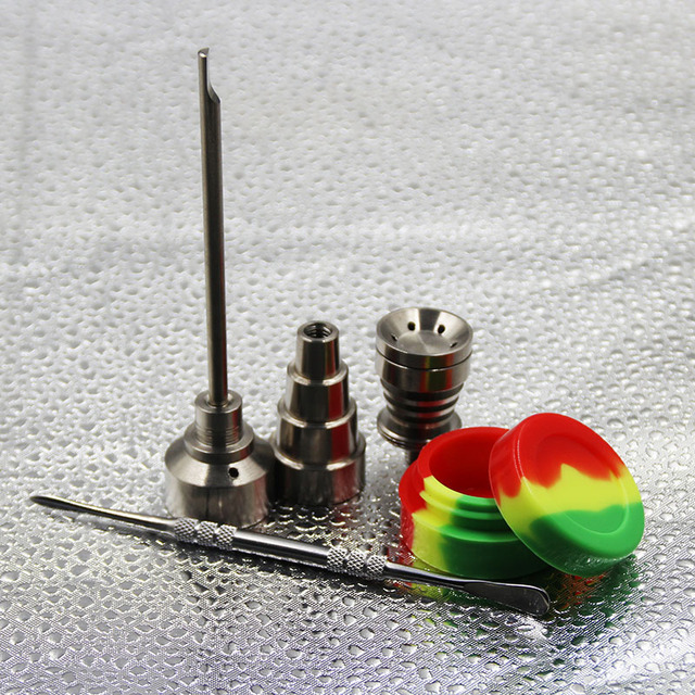 10/14/18mm male & female Gr2 Titanium Nail Carb Cap Dabber dab rig silicone jar for Glass Smoking Water Pipes
